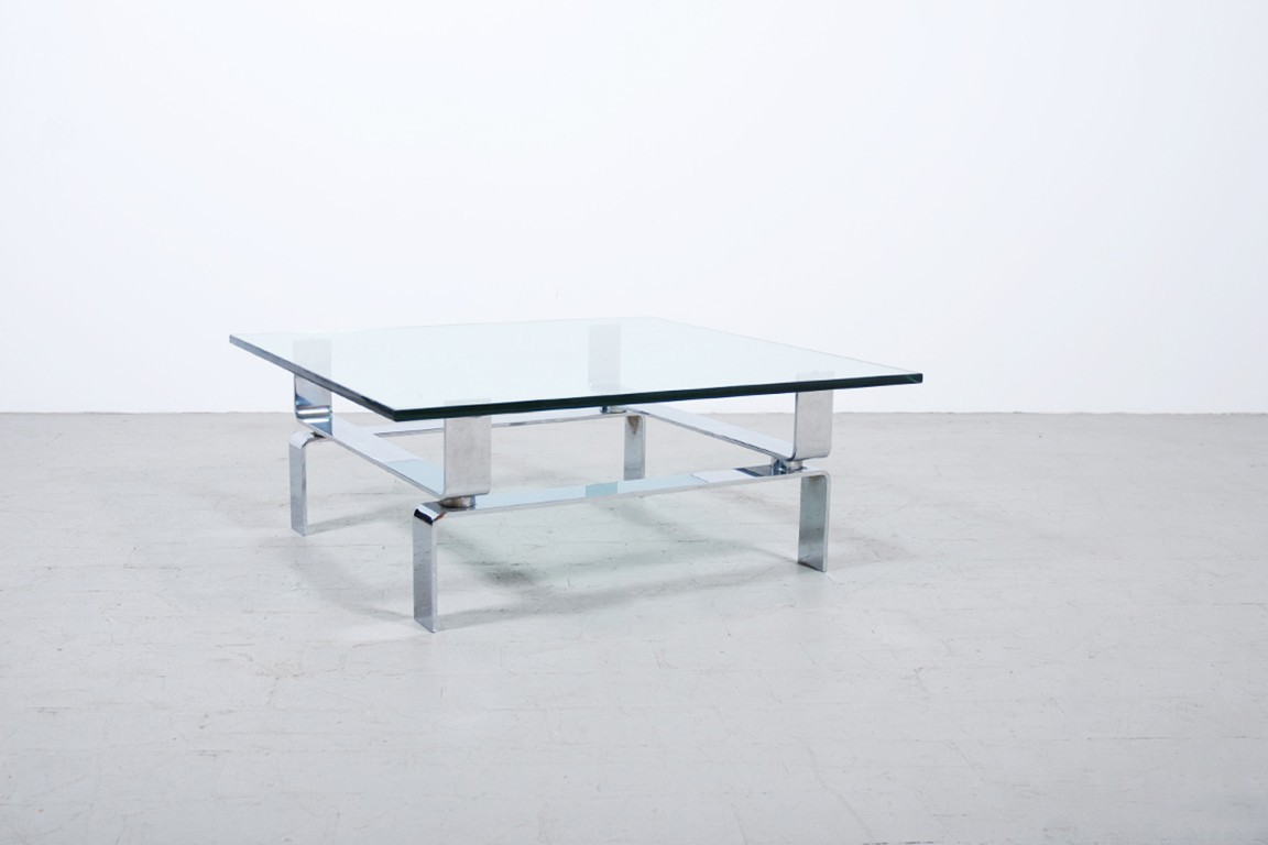 Table basse pietement chrome 1970 jasper - Customiser table en verre ...