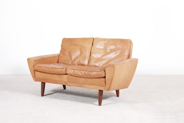 scandinavian sofa leather two seater danish vintage 1960